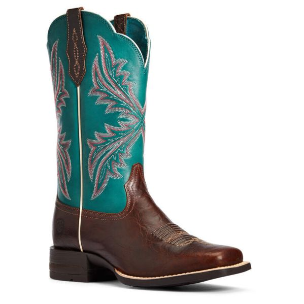 Blue and tan ariat cowboy boots