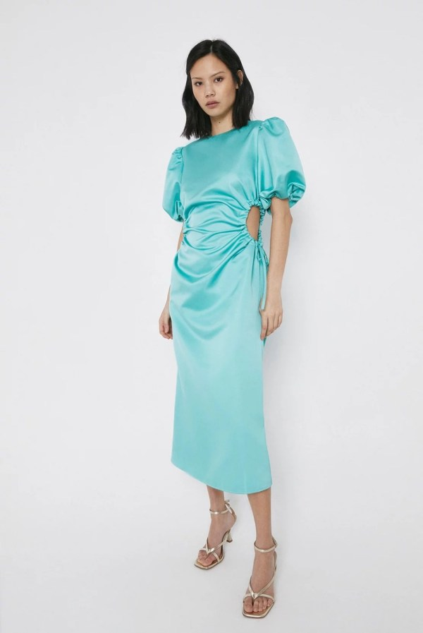 Green Satin Dress With Cut Outs warehouse