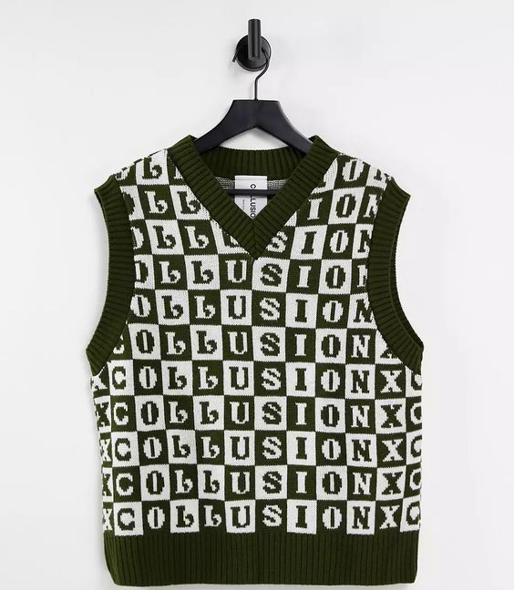 COLLUSION Unisex knitted tank in checkerboard