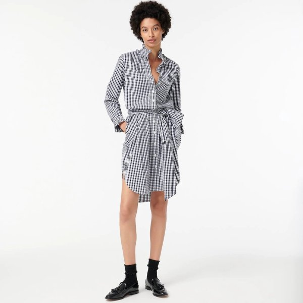 JCrew Petite Classic-Fit Ruffleneck Shirtdress