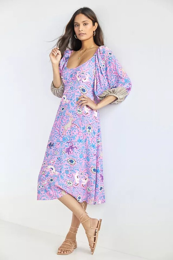 Anthropologie Puff-Sleeve Midi Dress