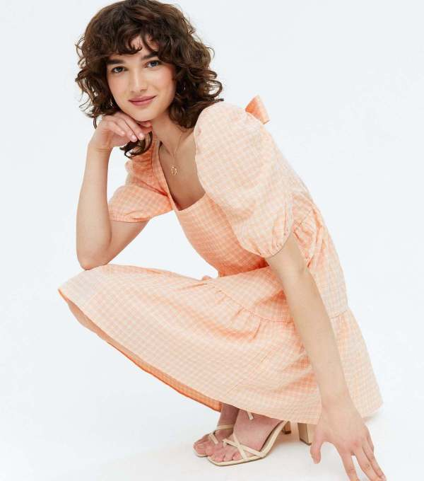 Orange Check Tie Back Tiered Smock Mini Dress new look
