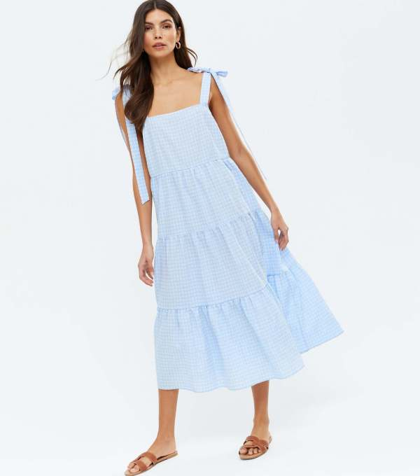 Pale Blue Check Tie Strap Tiered Midi Dress new look