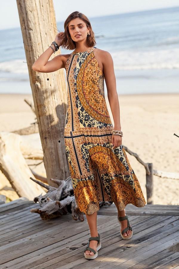 Multi Tile Print Halterneck Dress