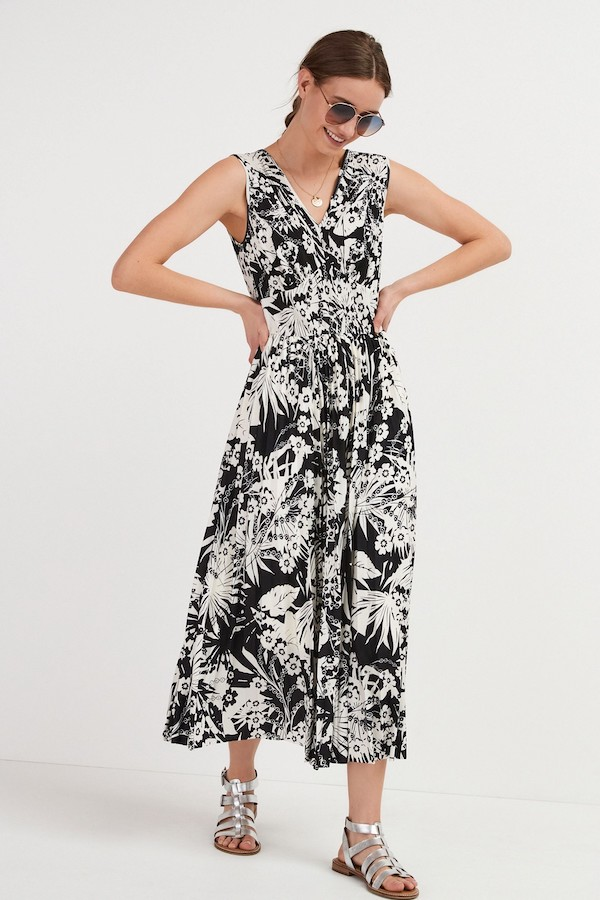 Monochrome Floral Pleated Sleeveless Midi Dress, £38