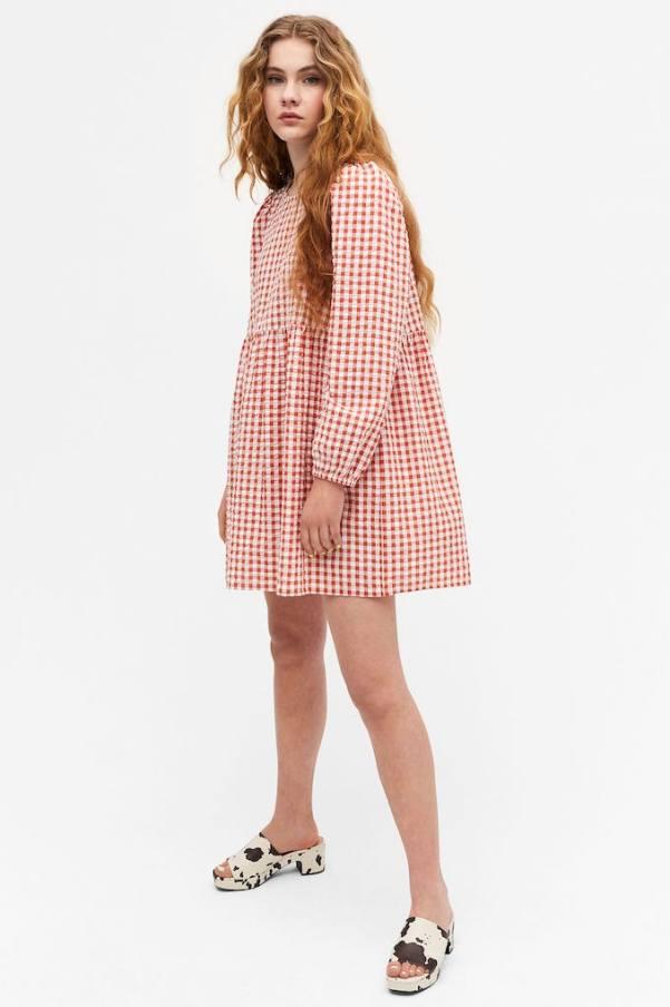 smocked mini dresses - monki gingham dress