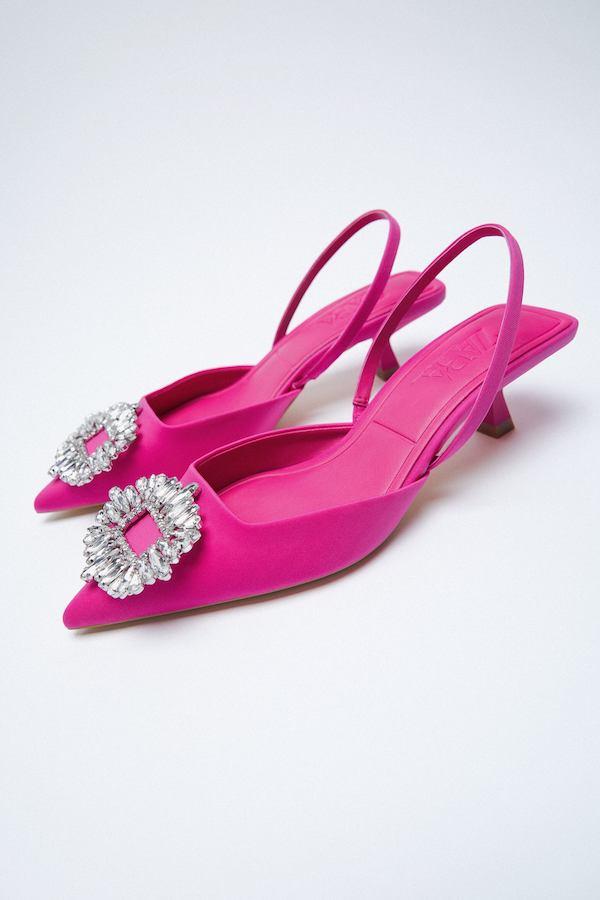 SHIMMERY MID-HEEL SLINGBACK SHOES zara pink