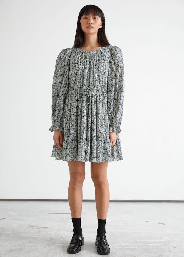 Voluminous Twill Mini Dress & other stories