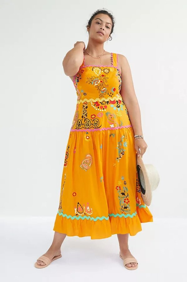 best plus size summer dresses from anthropologie - Maeve Sunset Embroidered Midi Dress