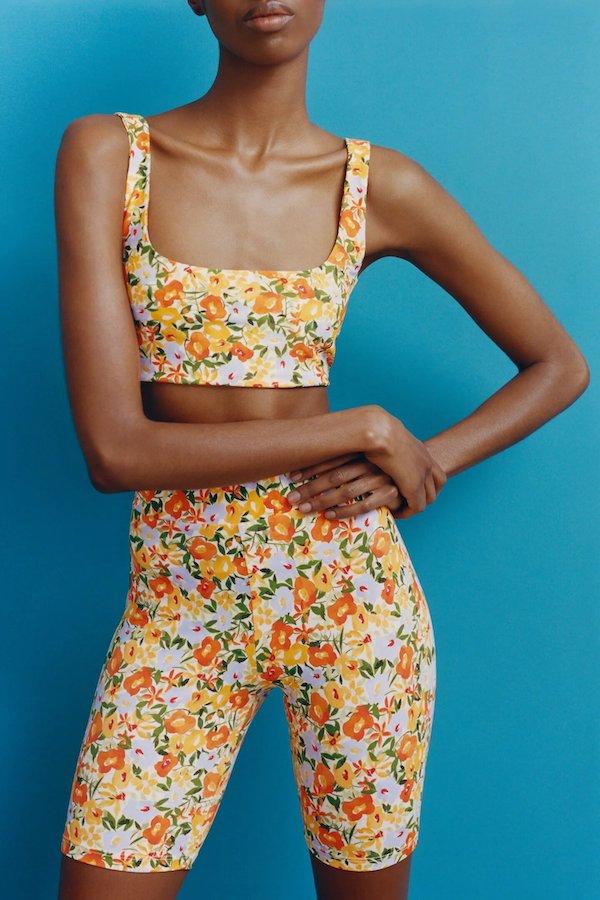 Floral Print Cycling Shorts Zara