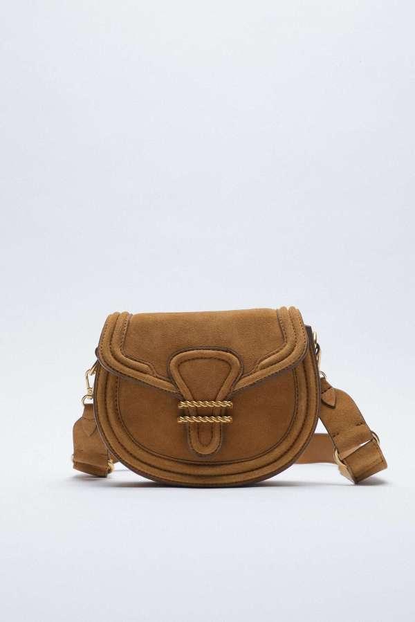 Oval Split Suede Crossbody Bag Zara