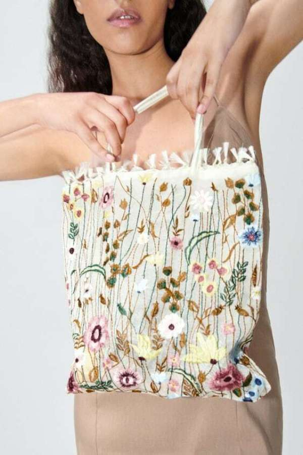 Tulle Tote Bag With Floral Embroidery Zara