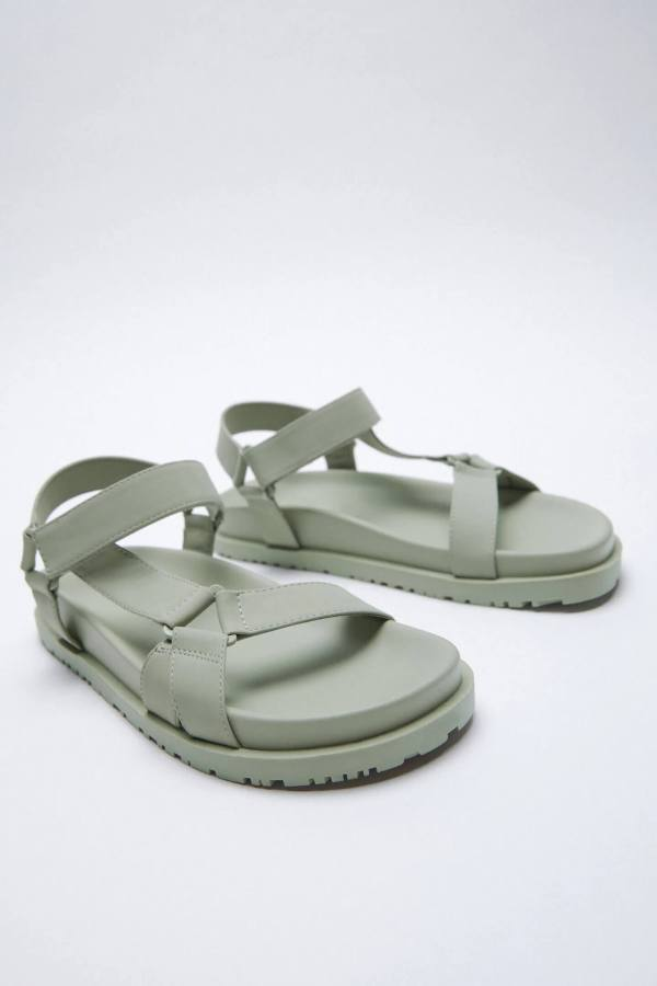 Zara Flat Rubberised Sandals