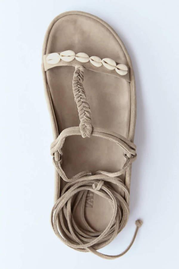 Best Zara summer sandals -  Split Suede Sandals With Beading