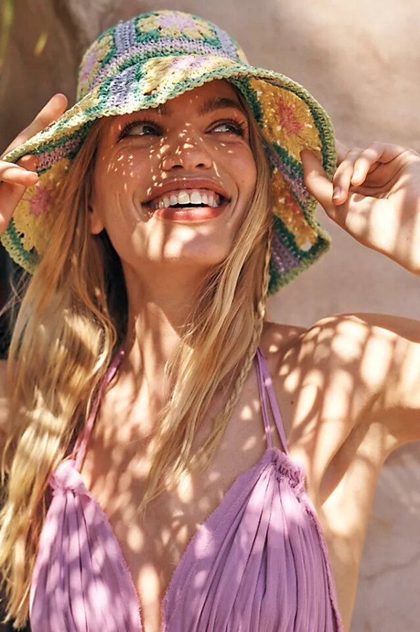 Free People Summer Of Love Straw Bucket Hat