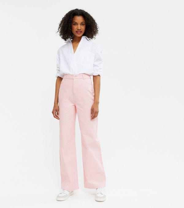 Pale Pink High Waist Adalae Wide Leg Jeans New Look
