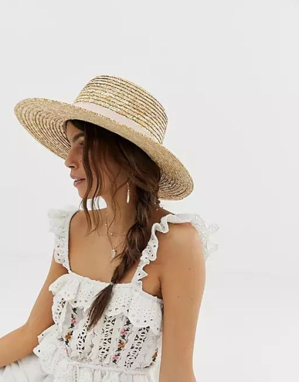 ASOS Natural Straw Easy Boater