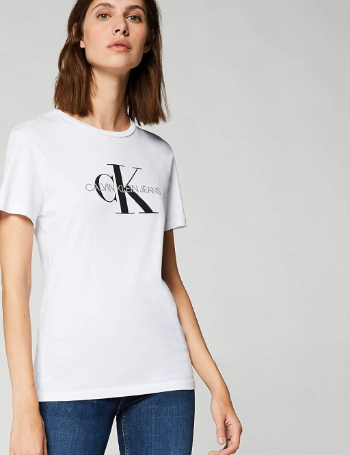 Calvin Klein Jeans Women's Core Monogram Logo Regular Fit Tee T-Shirt amazon