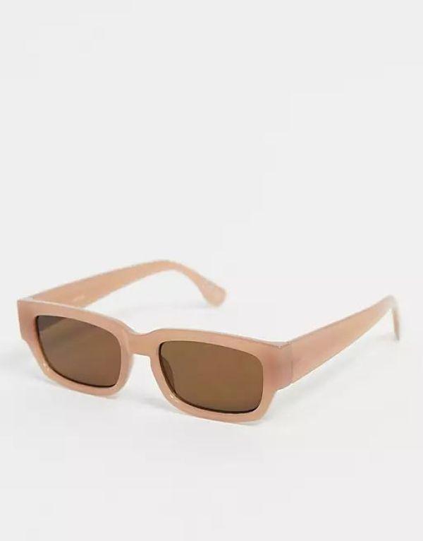 ASOS Mid Flat Top Square Sunglasses in Brown