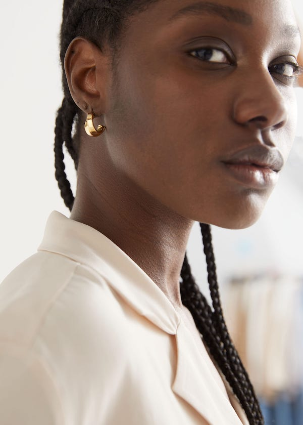 & Other Stories Chunky Layered Open Hoop Earrings