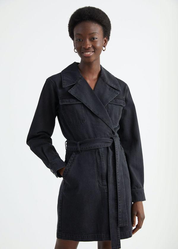 & Other Stories Denim Workwear Wrap Mini Dress