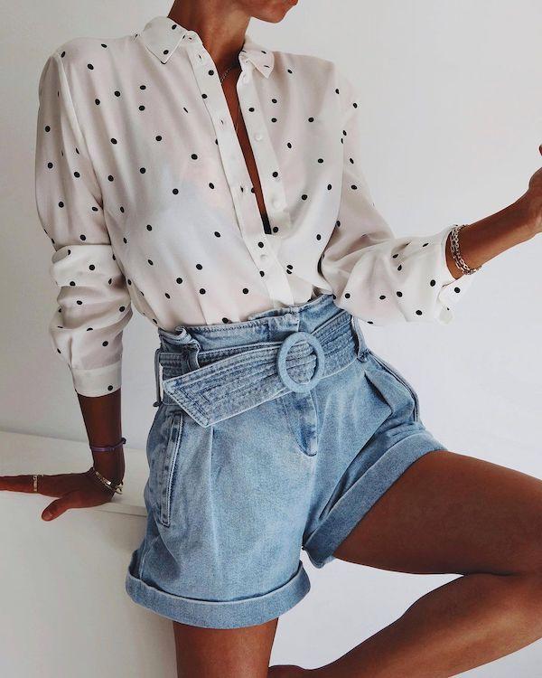 influencer andy singer wearing a pair of high-waist denim shorts