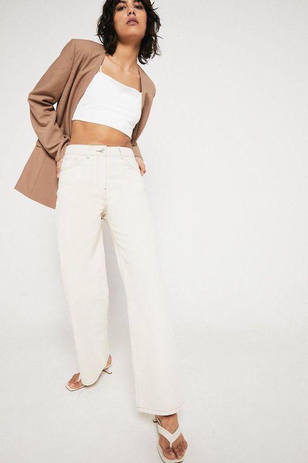 Warehouse 76s Organic Cotton Wide Leg Full-Length Jean