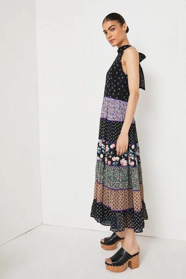 Warehouse Mix and Match Halter Maxi Dress