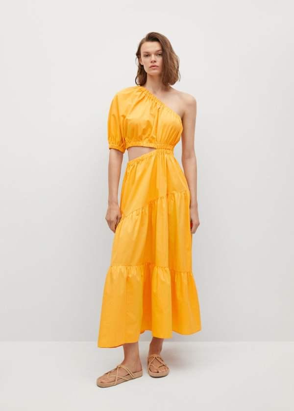 Mango Vent Cotton Dress in Orange