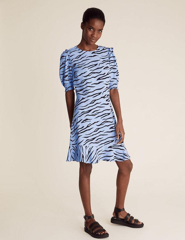 Marks & Spencer Animal Print Frill Detail Mini Tea Dress