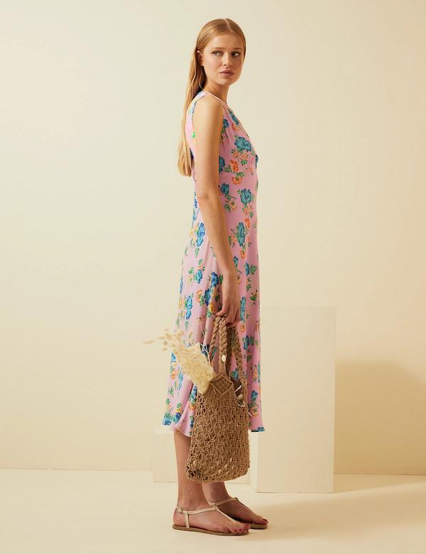 M&S x Ghost Floral V-Neck Sleeveless Midi Slip Dress