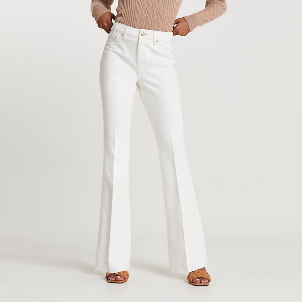 River Island White High-Waisted Flared Jeans