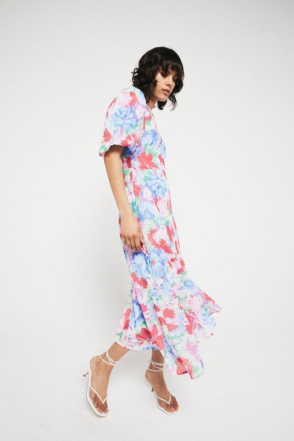 Warehouse Midi Dress with Dip Hem in Floral