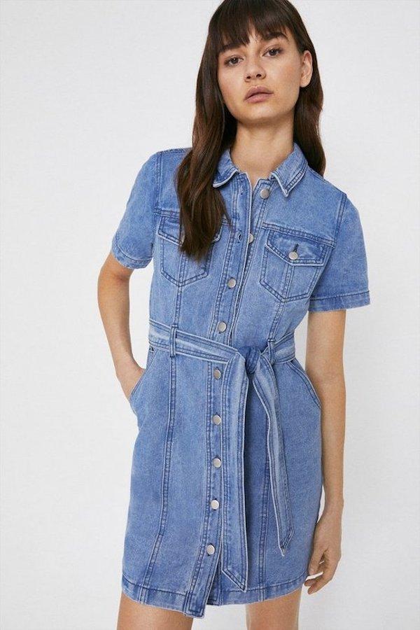 Warehouse Denim Belted Mini Shirt Dress