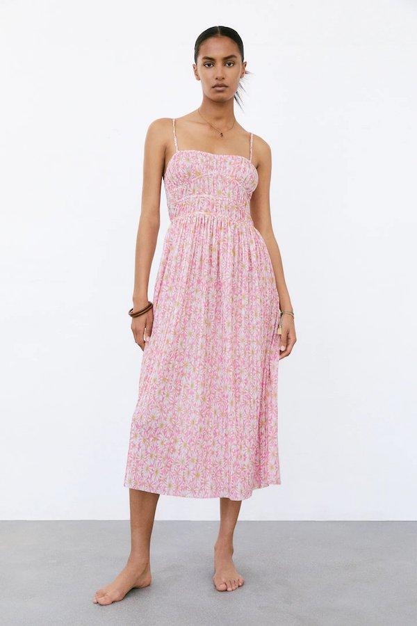 Zara Printed Dress With Pleated Skirt