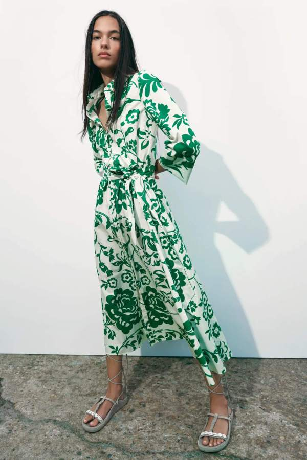 Zara Printed Poplin Dress
