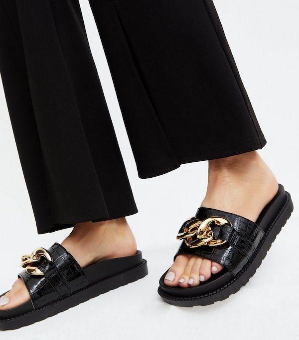 New Look Krush Black Faux Croc Chain Sliders