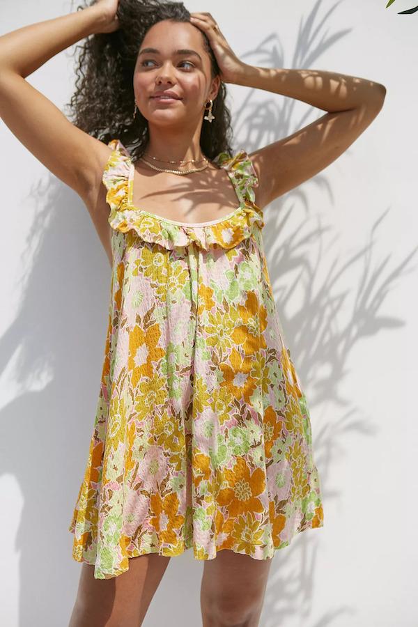 Urban Outfitters Desert Flower Ruffle Mini Dress