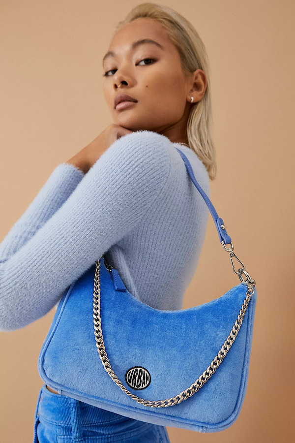 Urban Outfitters Velour Chain Accent Shoulder Bag