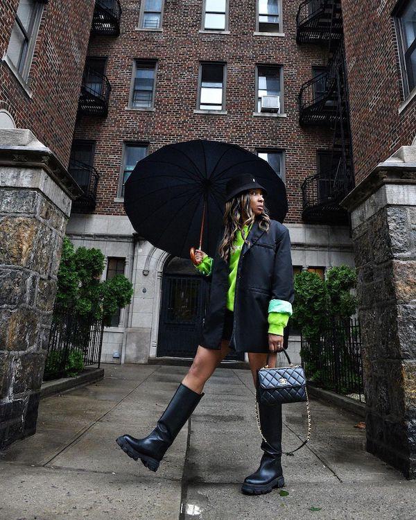 karen Blanchard wearing lug sole boots