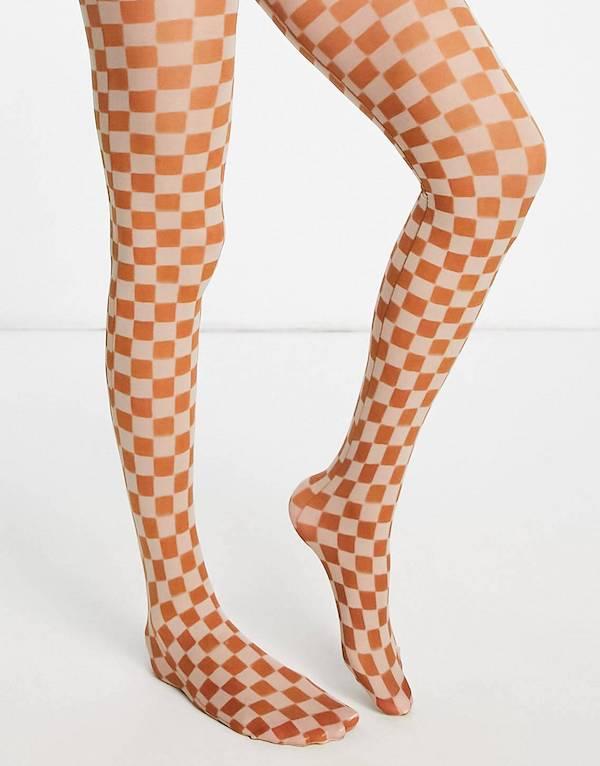 ASOS DESIGN 40 denier checkerboard printed tights in multi