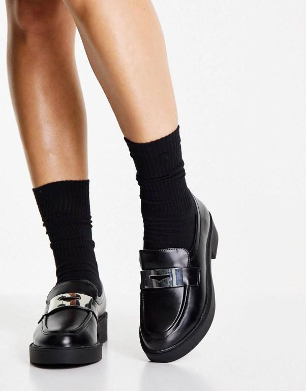 ASOS DESIGN Wide Fit Macrone trim loafer flat shoes in black