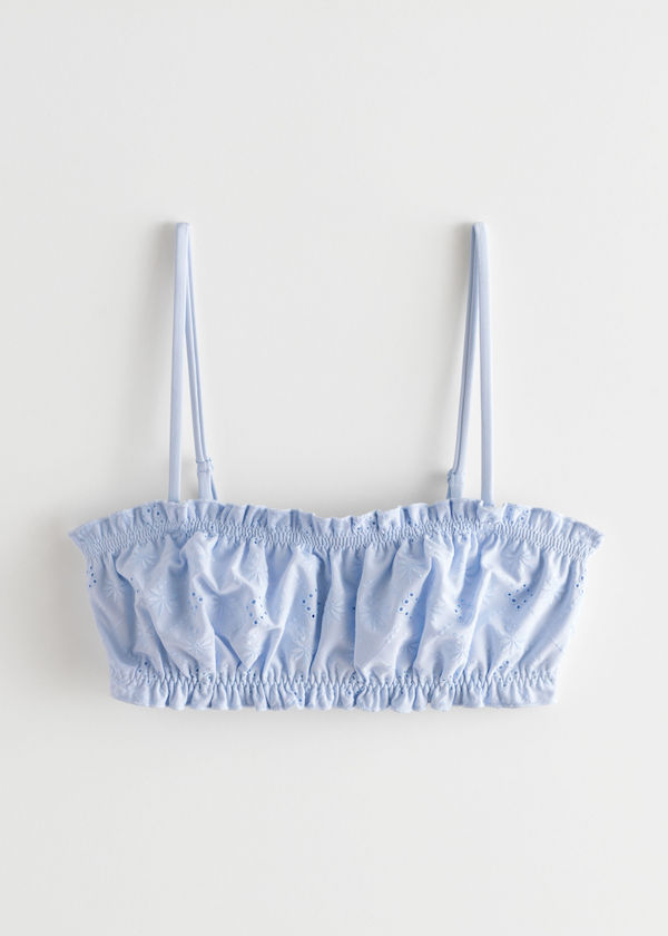 & Other Stories Eyelet Embroidered Bandeau Bikini Top