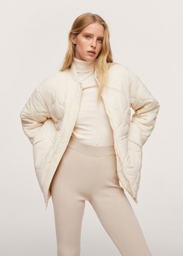 Mango Quilted Jacket in Snow