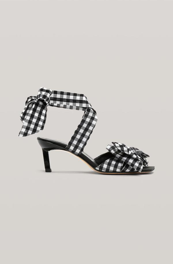 Ganni Seersucker Kitten Heel Square Toe Sandals