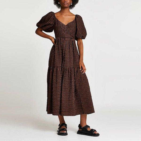 River Island Brown Smock Gingham Maxi Dress