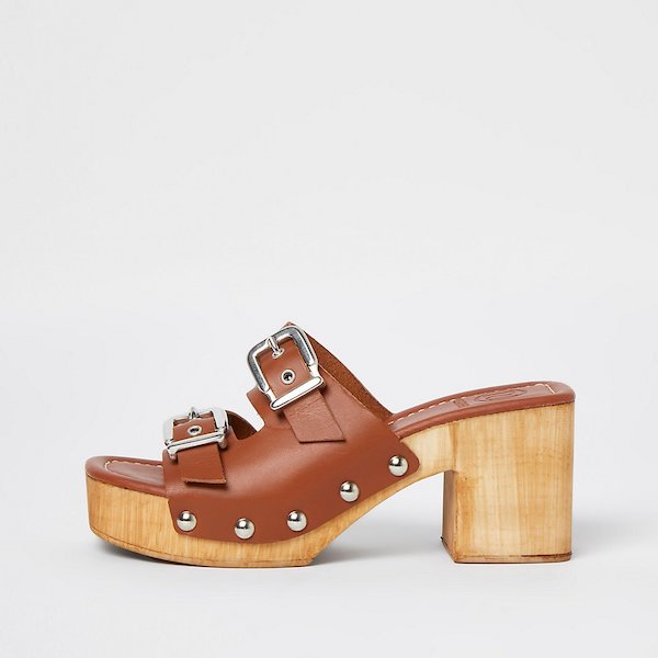 River Island Brown Leather Double Buckle Studded Mules