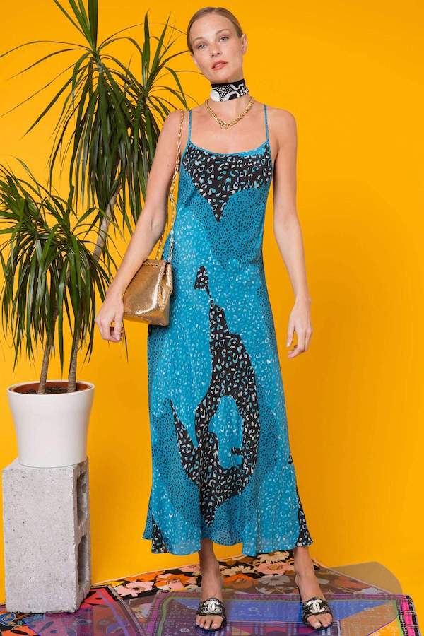 Rixo Sylvie Teal Patchwork Leopard Midi Slip Dress