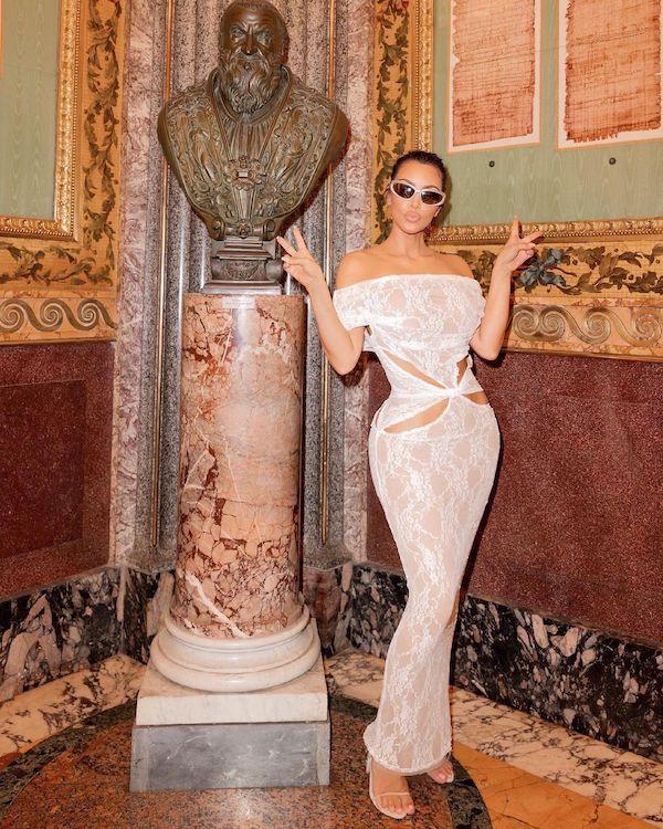 kim kardashian wearing a cut out dress