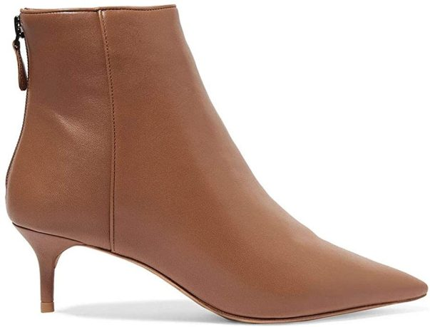 Women's Stylish Pointed Toe Elegant Low Kitten Heel Ankle Boots Zipper Autumn Winter Stiletto Boots